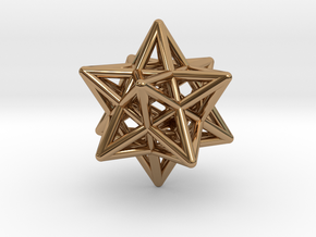 Stellated Dodecahedron Pendant in Polished Brass