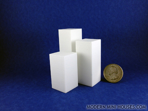 Triple Pedestals or Planters 1:12 scale in White Processed Versatile Plastic
