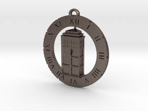 TARDIS (Half) - Pendant in Polished Bronzed Silver Steel