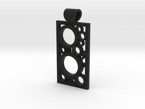 Encased Rings Pendant in Black Natural Versatile Plastic