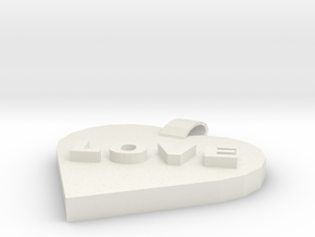 Love pendant in White Natural Versatile Plastic