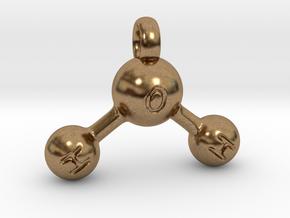 Water Molecule Keychain in Natural Brass