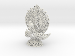 Peacock Ornamental in White Natural Versatile Plastic