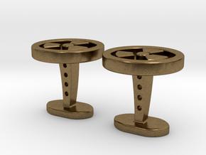 Radioactive cufflinks in Natural Bronze