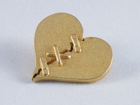 Fixed Heart  in Matte Gold Steel