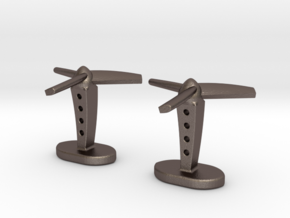 Propeller cufflinks in Polished Bronzed Silver Steel