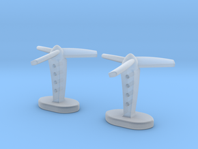 Propeller cufflinks in Smooth Fine Detail Plastic