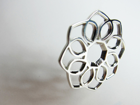Small Flower Pendant in Fine Detail Polished Silver