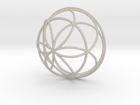 3D 100mm Half Orb of Life (3D Seed of Life)  in Sandstone