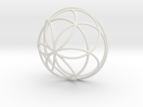 3D 200mm Half Orb of Life (3D Seed of Life)  in White Natural Versatile Plastic