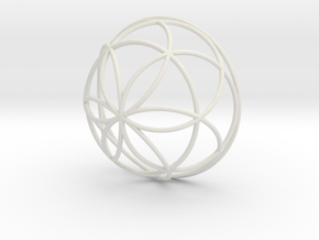 3D 300mm Half Orb of Life (3D Seed of Life) in White Natural Versatile Plastic