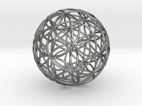 3D 50mm Orb of Life (3D Flower of Life)  in Polished Silver