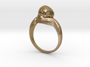 150109 Skull Ring 1 Size 13  in Polished Gold Steel