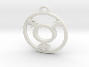 TransGender Pendant -Small in White Natural Versatile Plastic