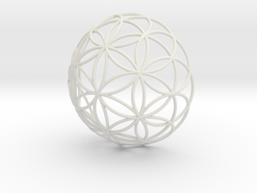 3D 300mm Half Orb of Life (3D Flower of Life)  in White Natural Versatile Plastic