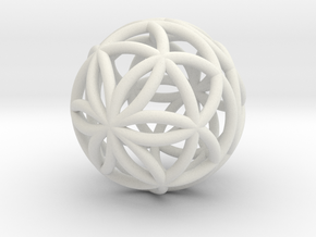 3D 25mm Orb of Life (3D Seed of Life)  in White Strong & Flexible