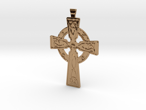 Celtic Cross Pendant in Polished Brass