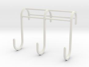 3 Hook Set for IKEA GRUNDTAL (17mm / 2.5mm) in White Natural Versatile Plastic