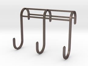 3 Hook Set for IKEA GRUNDTAL (17mm / 2.5mm) in Polished Bronzed Silver Steel