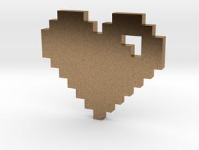 8 Bit Heart (Pixel Heart) in Natural Brass