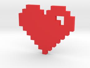 8 Bit Heart (Pixel Heart) in Red Processed Versatile Plastic