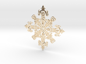 Robot Snowflake in 14K Yellow Gold