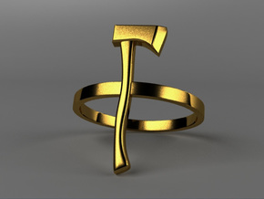 Axe Ring - Size N (6 3/4) in Polished Gold Steel