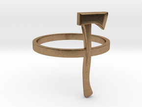 Axe Ring - Size N (6 3/4) in Natural Brass