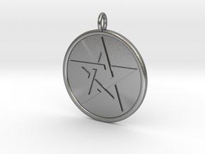 Solid Pentacle Pendant in Natural Silver