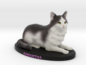 Custom Cat Figurine - Samantha in Full Color Sandstone