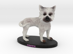 Custom Dog Figurine - Green in Full Color Sandstone