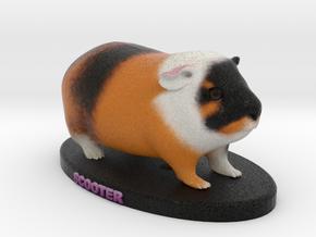 Custom Guinea Pig Figurine - Scooter in Full Color Sandstone