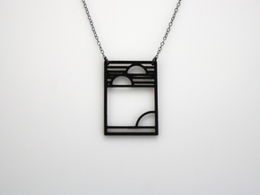 Art Deco Pendant - Yesterday, Today, & Tomorrow in Black Natural Versatile Plastic