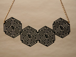 Hexagonal Triangle Necklace in Black Natural Versatile Plastic