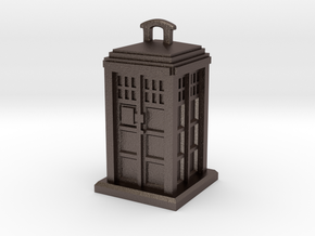Police Box Pendant in Polished Bronzed Silver Steel