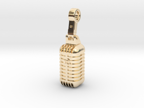 very detailed retro Microphone Pendant in 14K Yellow Gold