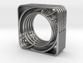LOFF - wire cubic ring and pendant 2 in Natural Silver