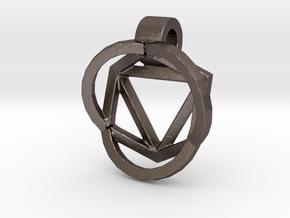 HIDDEN HEARTS PENDANT OPEN in Polished Bronzed Silver Steel