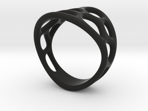 Cell Ring in Black Natural Versatile Plastic: 6 / 51.5