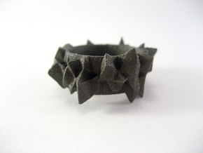 Facets Ring - Part 2 (Size 7) in Matte Black Steel