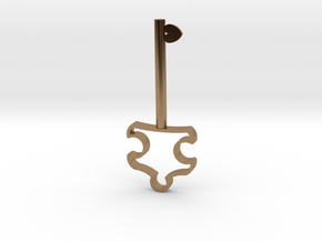 Autism Key Pendant in Natural Brass