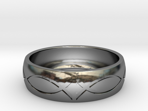 Size 10 Ring engraved in Fine Detail Polished Silver