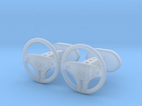 Mercedes steering wheel cufflinks in Smooth Fine Detail Plastic