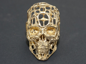 Human skull filagree  pendant or earring in Natural Brass