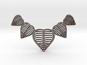 Leafy heart pendant / Necklace in Polished Bronzed Silver Steel