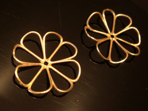 Four-leaf clover earrings (pair) in Natural Brass