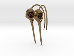 Pair (2) of Hummingbird Skull Earrings with Long B in Natural Bronze