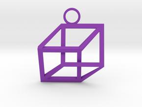 Impossible Cube Necklace in Purple Processed Versatile Plastic