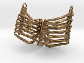 Ribcage Earring Pair in Natural Brass