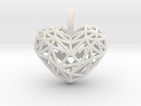 Heart Pendant - Wireframe in White Natural Versatile Plastic